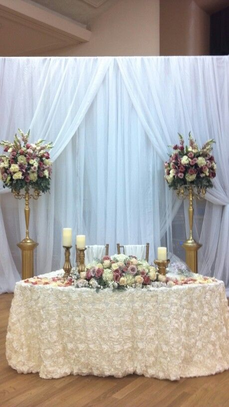 Pin By Galvan Floral On Gold Rose And Ivory Wedding Bride Groom Table Head Table Wedding Bridal Table