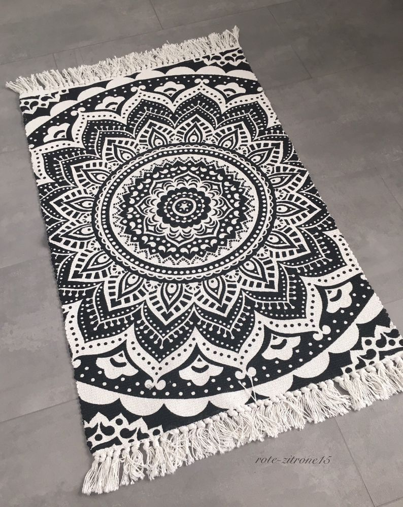 l ufer mandala muster boho boheme baumwolle schwarz wei teppich neu 60x90 cm ebay rote. Black Bedroom Furniture Sets. Home Design Ideas
