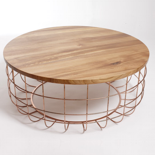 Coffee Table Wood Top Copper Wire