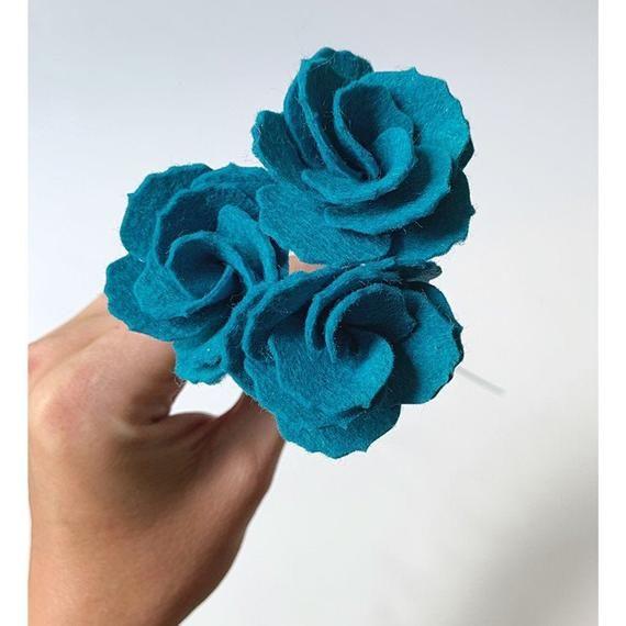 Felt peony, blue felt flower, felt flower decor, felt bouquet, single felt flower, flowers for vases, wool felt, turquoise flower