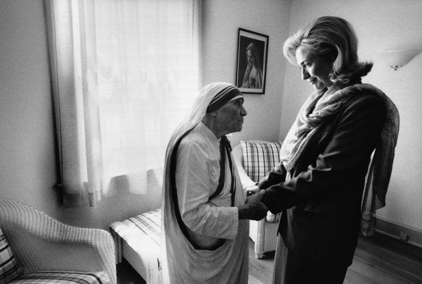 Hillary Clinton meets with Mother Teresa at the opening of the Mother Teresa Home for Infant Children in Washington, D.C. Taken in 1995.