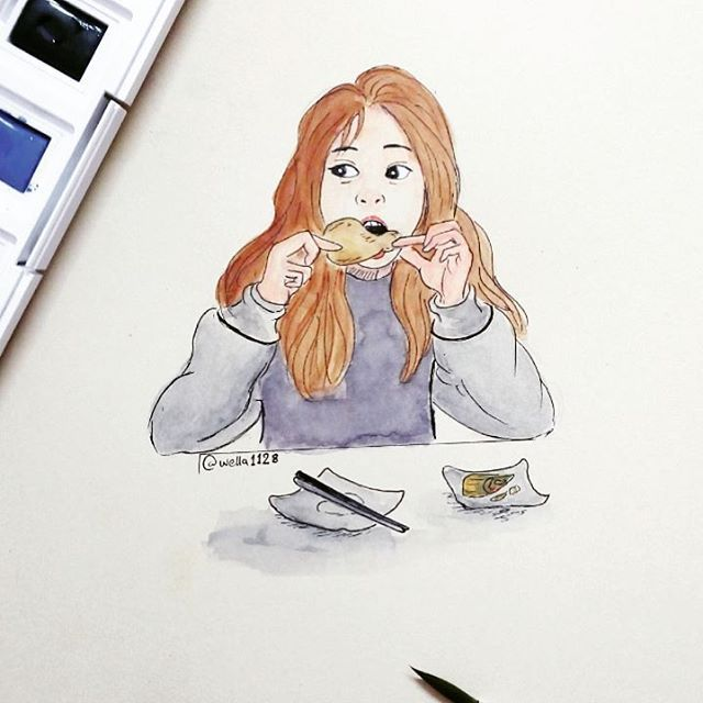 Aaaa Hungry Girl Sketch Watercolor Hungry Meat