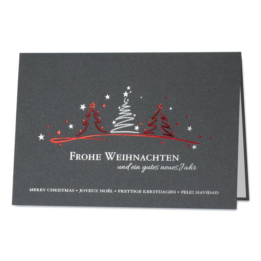 schlichte weihnachtsw nsche mit christbaum spalier in rot. Black Bedroom Furniture Sets. Home Design Ideas