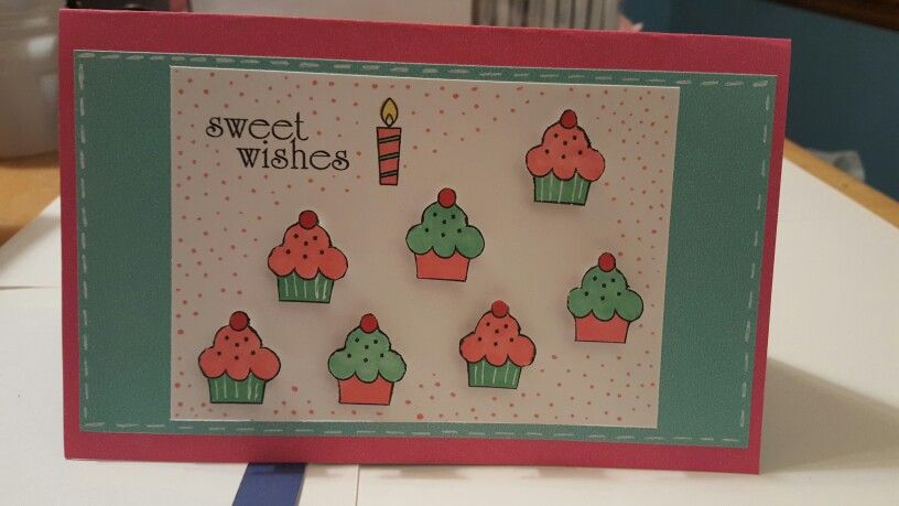 Cupcake birthday card using Penny Black Sweet Wishes Stamp and Copic Markers! #copicmarkers #cardmaking