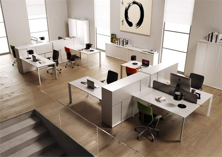 Multiple office workstation online3 collection by mascagni for Office desk layout ideas