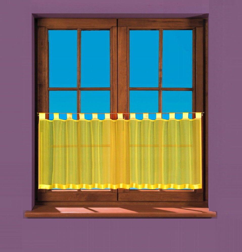 Panneaux Bistro Scheibengardine Vorhang Wohngardine Kuche Fenster Wohnung Gelb Ebay Curtains Bistro Home Decor