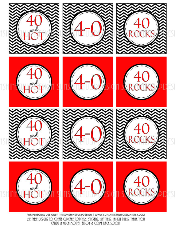 40th Birthday Red and Black Chevron Printable DIY Cupcake toppers