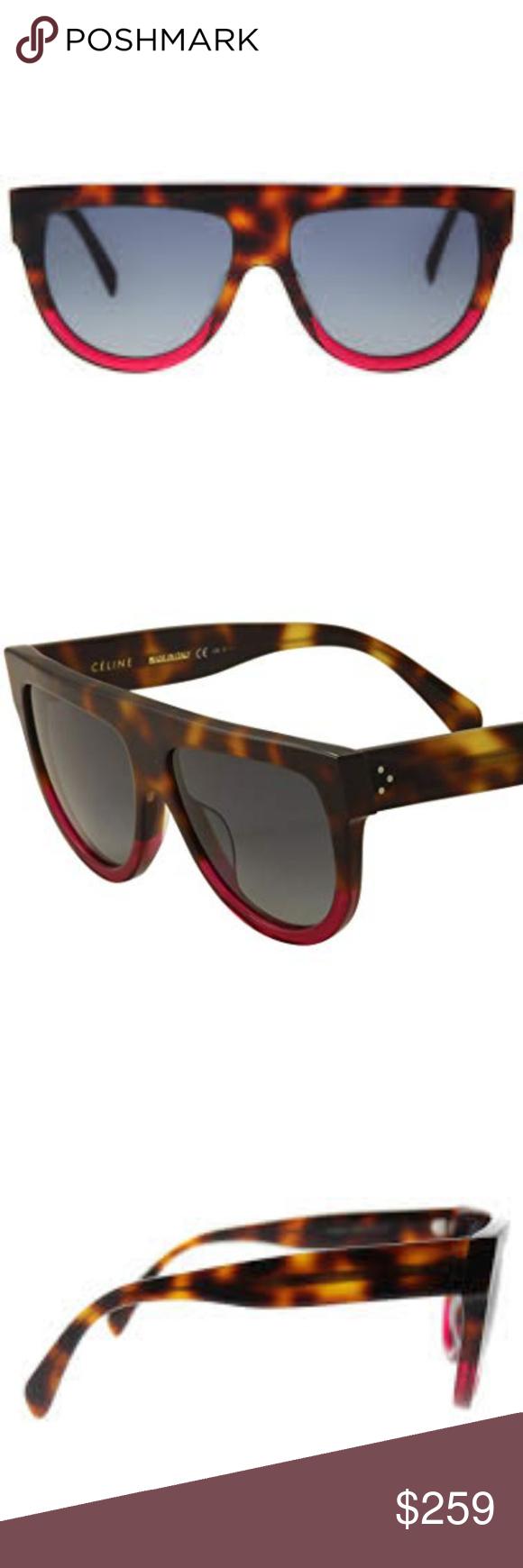 037df2ab189 CELINE Shadow FLAT TOP Sunglasses TORTOISE FUCHSIA CELINE CL 41026 S Shadow  FLAT TOP