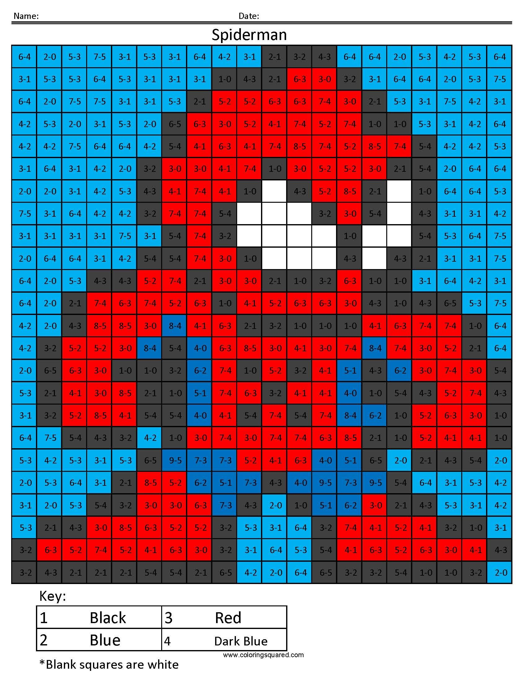 Spiderman Coloring Squared Page | Cool Education | Pinterest ...