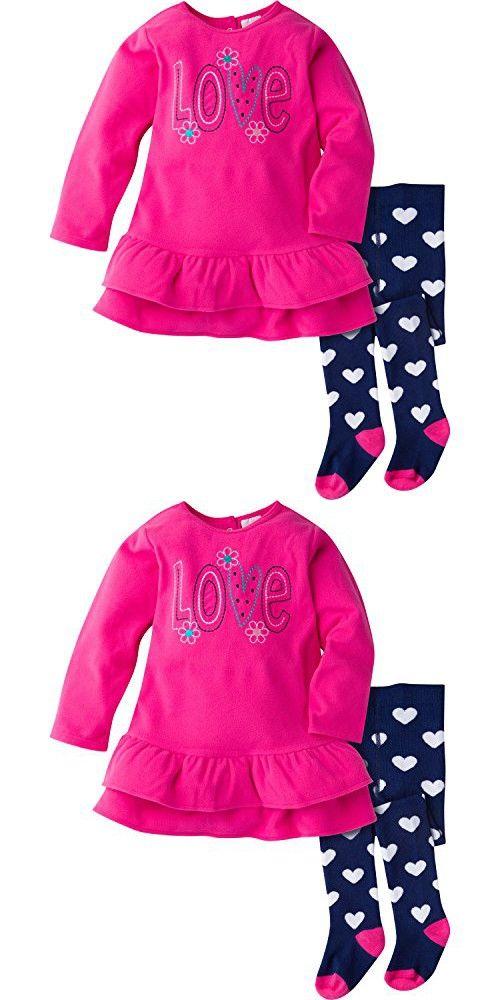 Gerber Girls' Toddler Girls' Micro Fleece Dress with Tights, Love, 3T