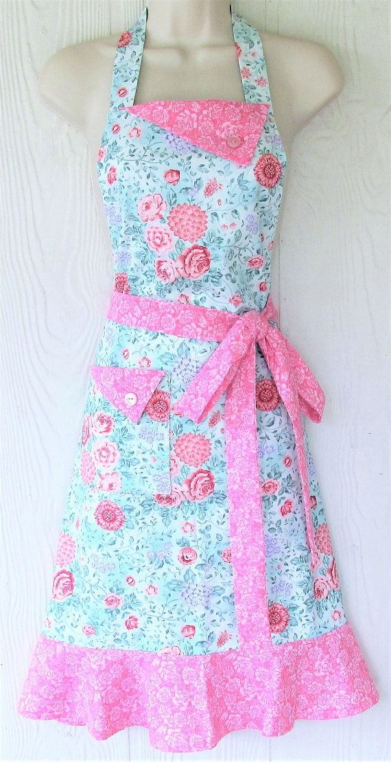 Pink Floral Apron Pink and Teal Cottage Chic Retro Style