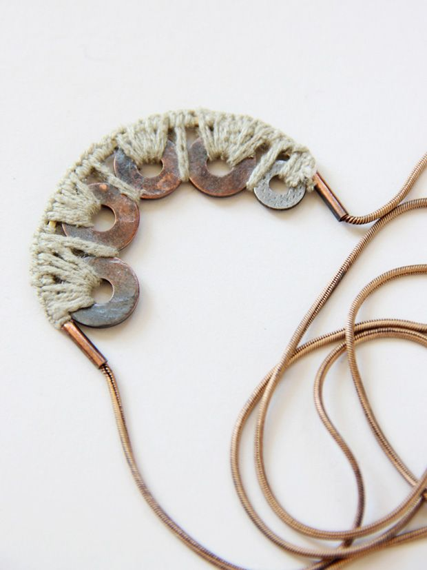 Erin Considine: a piece made with mushroom-dyed silk and old copper washers from her grandpas shed