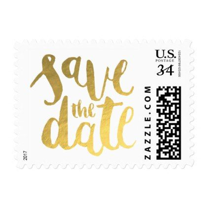 Faux Gold Foil Save The Date Calligraphy Postage  Script Gifts