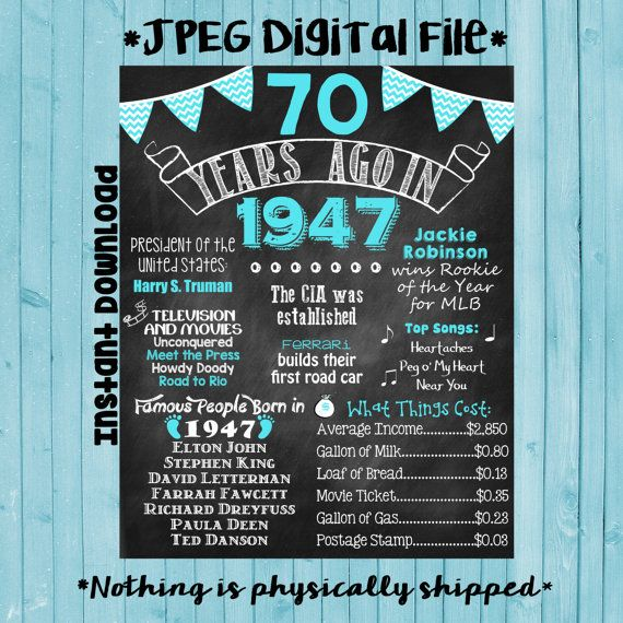 Items Similar To 1947 Birthday Trivia Game: 70th Birthday Chalkboard 1949 Poster 70 Years Ago In 1949