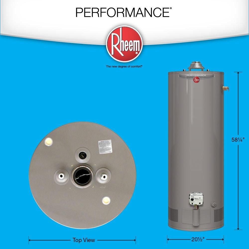 Rheem Performance 50 Gal Tall 6 Year 38 000 Btu Natural Gas Tank Water Heater Xg50t06ec38u1 Water Heater Water Heater Installation Water Heater Maintenance