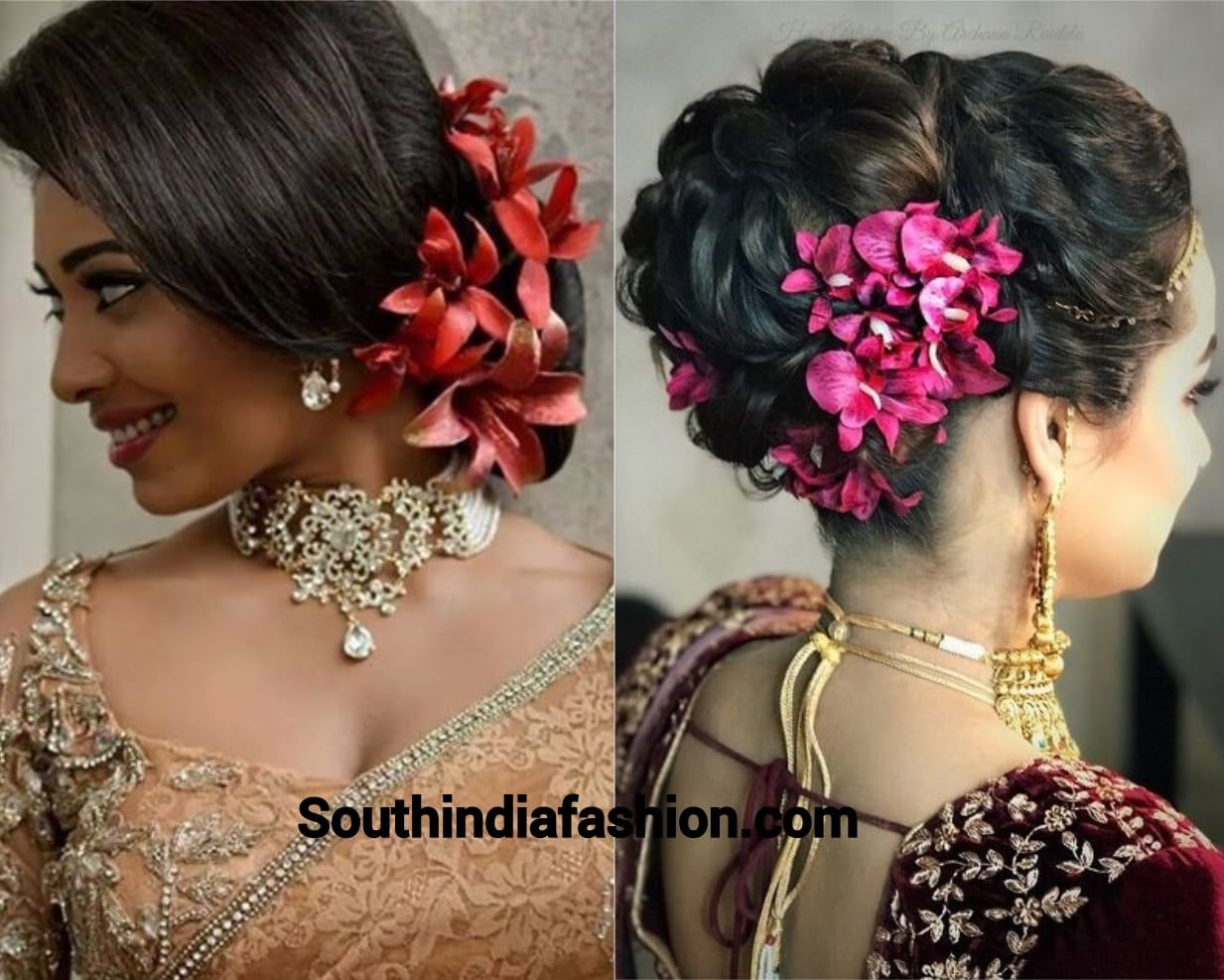 Indian Wedding Bun Hairstyle With Flowers And Gajra Wedding Bun Hairstyles Bun Hairstyles For Long Hair Bun Hairstyles
