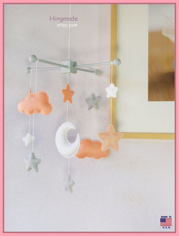 Baby Crib Mobile Coral And Gray Moon Stars And Clouds