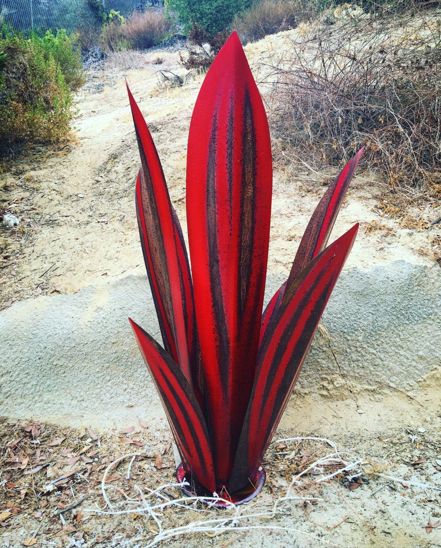 Red Tequila Agave Svulpture Metal Art Garden Yard
