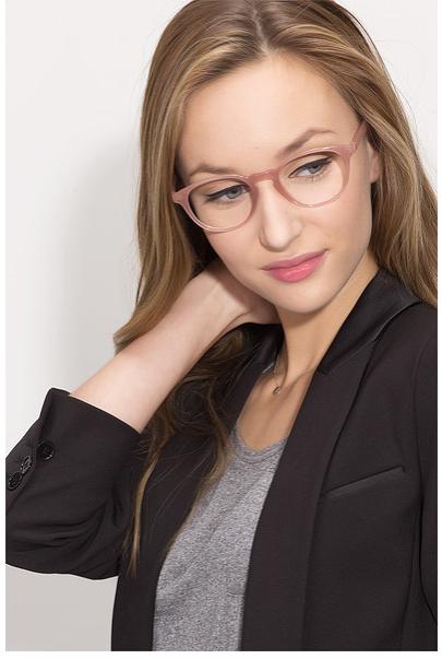 b144f5932 Rosa Semi-transparente de Acetato de armações de óculos de olho para as  mulheres Oval Em Forma de Espetáculo Óptico Óculos de Armação