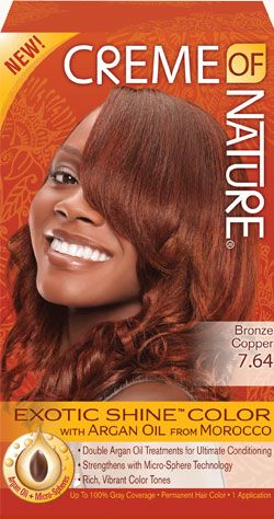 Bronze Copper Exotic Shine Hair Color By Creme Of Nature Double Argan Oil Treatments For