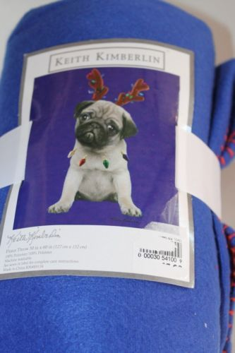 9cd4e70f01c KEITH KIMBERLIN CHRISTMAS PUG DOG FLEECE THROW BLANKET NWT APPROX 50 X 60 IN