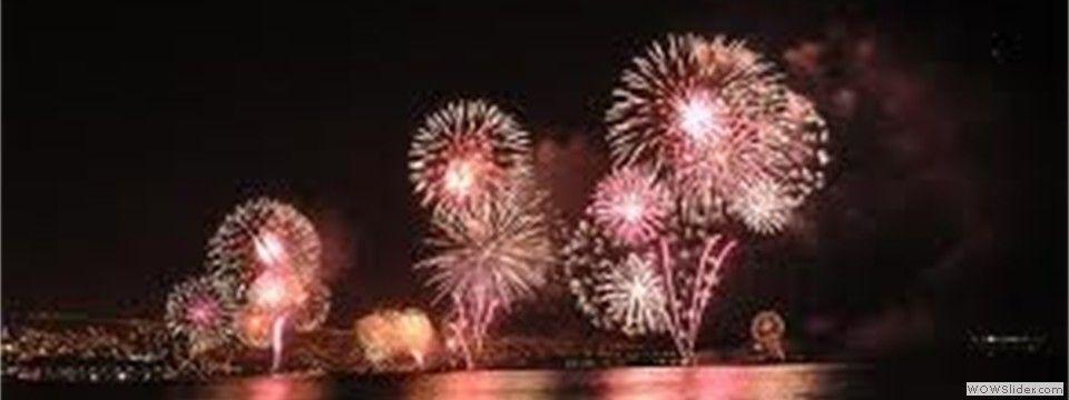 Celebra este año nuevo, con un gran explosión de Fuegos Artificiales a orillas del mar....