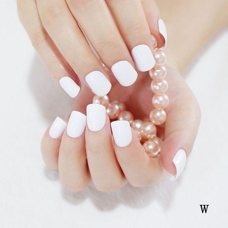 Artificial False Fake Nails Pure White Fashion Sweet Candy Short ...