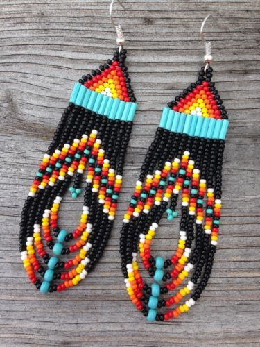Native American Style 3.5 Long Multi Colored Beaded Earrings #nativeamericanbeadworkpatters