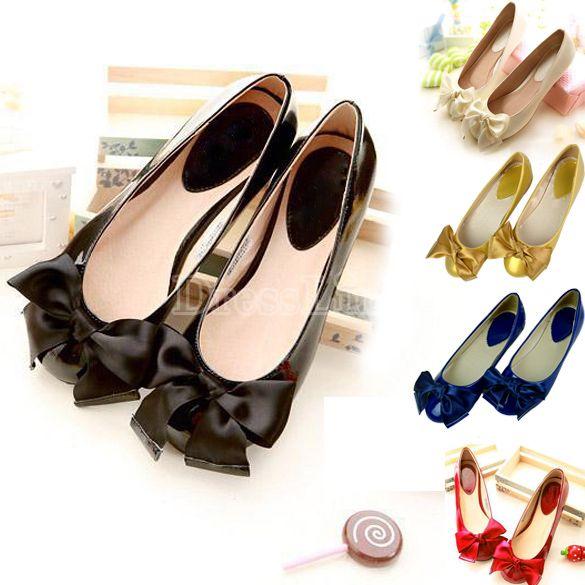 Moda Mujer Bowknot Resbalón-en los zapatos de ballet planos dulces 5Colors zapatos de suela blanda