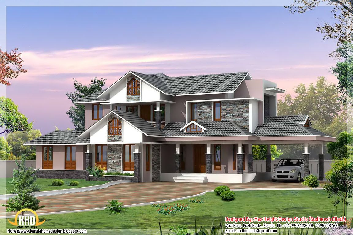 Dream homes kerala style dream home elevations kerala for Elevation of kerala homes