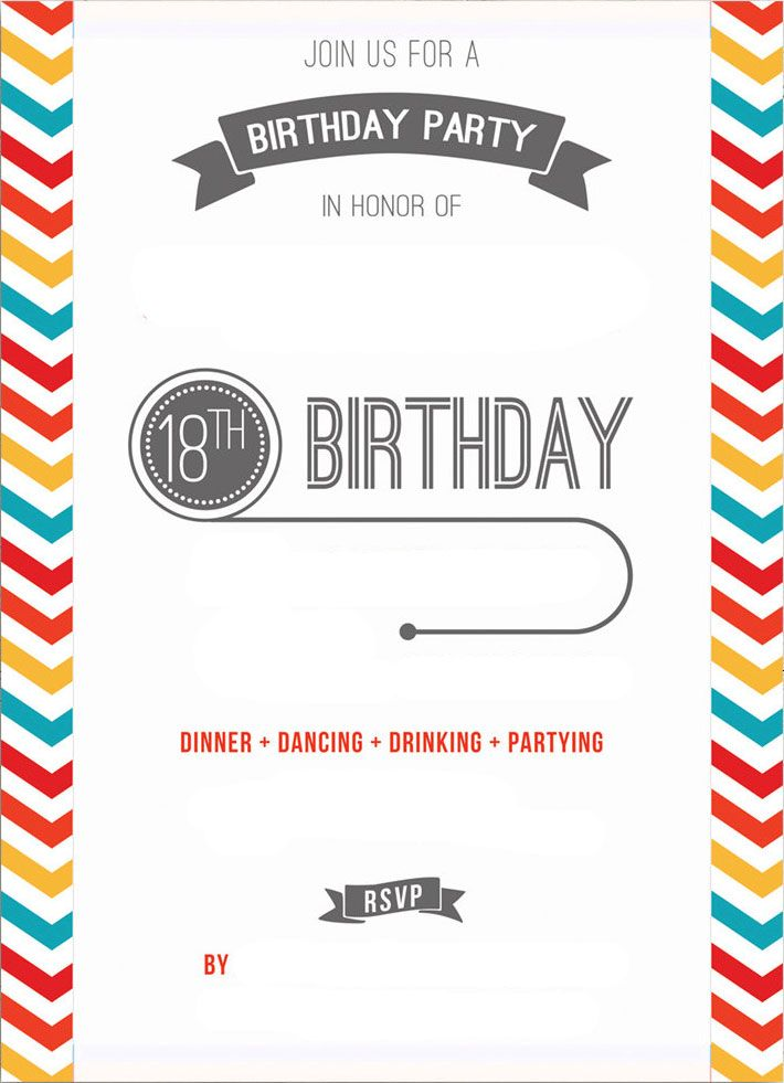 Free Printable 18th Birthday Invitation Template Party Invite Template Birthday Invitation Templates Free Printable Birthday Invitations
