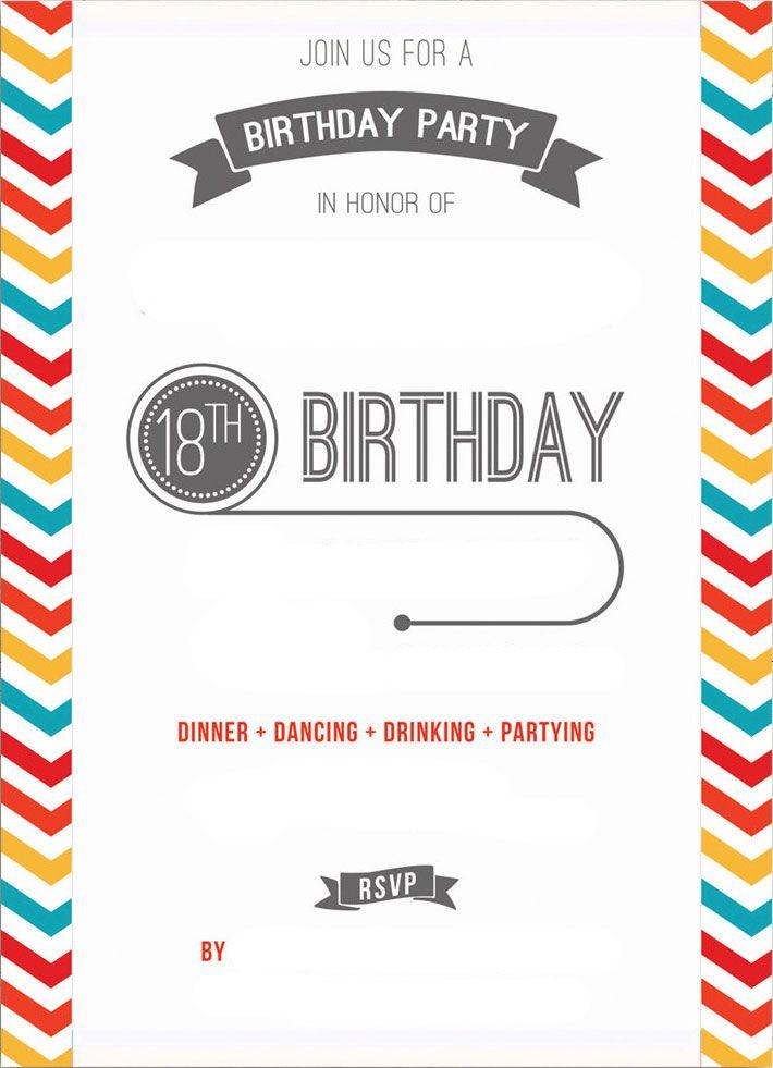 Free Printable 18th Birthday Invitation Template Birthday Invitation Templates Birthday Party Invitations Printable Party Invite Template