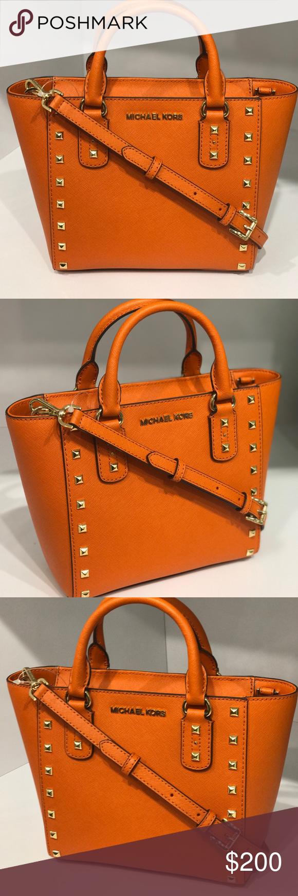 43ad94eb112b14 Michael Kors sandrine Stud Leather SM satchel bag Size: Small Satchel / crossbody/messenger -Michael Kors nameplate in front -Tags attached .