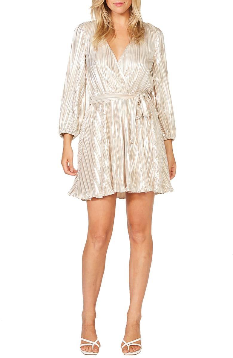 Bardot Bellissa Pleated Long Sleeve Faux Wrap Dress Nordstrom Wrap Dress Faux Wrap Dress Nordstrom Dresses [ 1196 x 780 Pixel ]