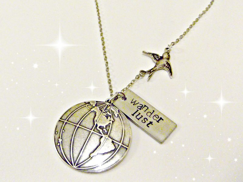 'Wanderlust' Hand Stamped Swallow & Globe Necklace - product image