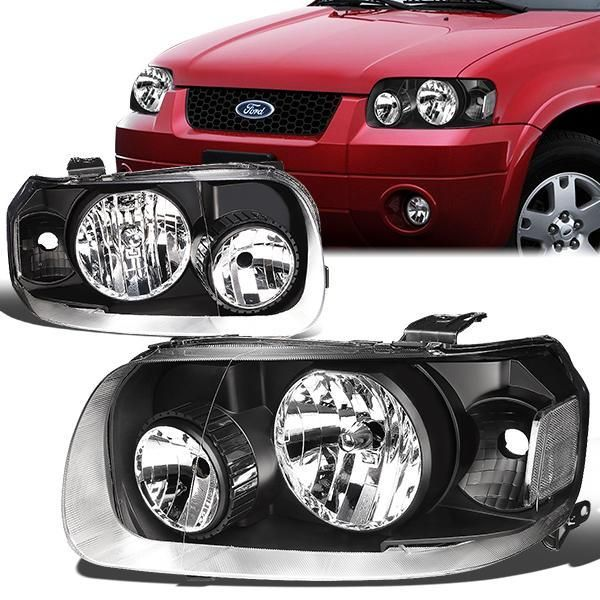 05 07 Ford Escape Headlights Black Housing Clear Corner Ford Escape Ford Headlights