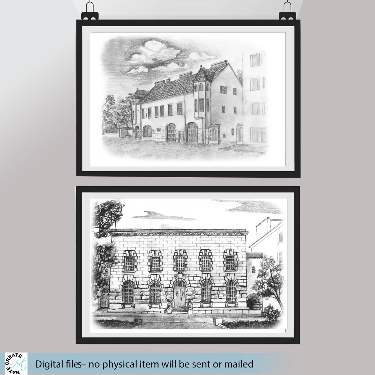 Horizontal wall art printable cityscape art black white art