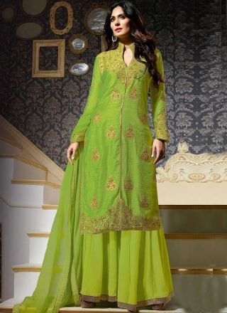 644bba3beb Bruna Abdullah Parrot Green Embroidery Patti Work Georgette Silk Wedding  Suit http://www