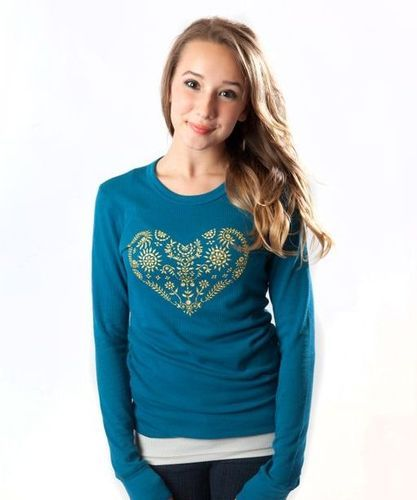 Embroidered Heart Thermal, $28.00