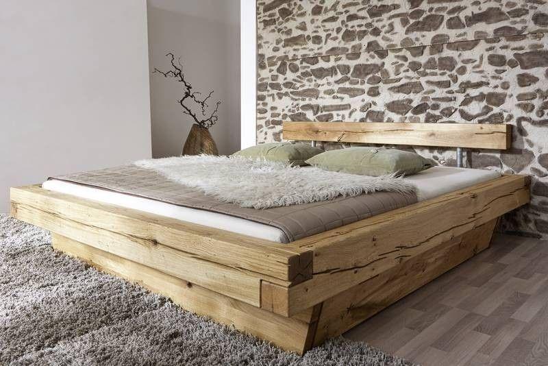 Balkenbett Balkeneiche mit Bettkasten 160x200 natur geölt JANGALI