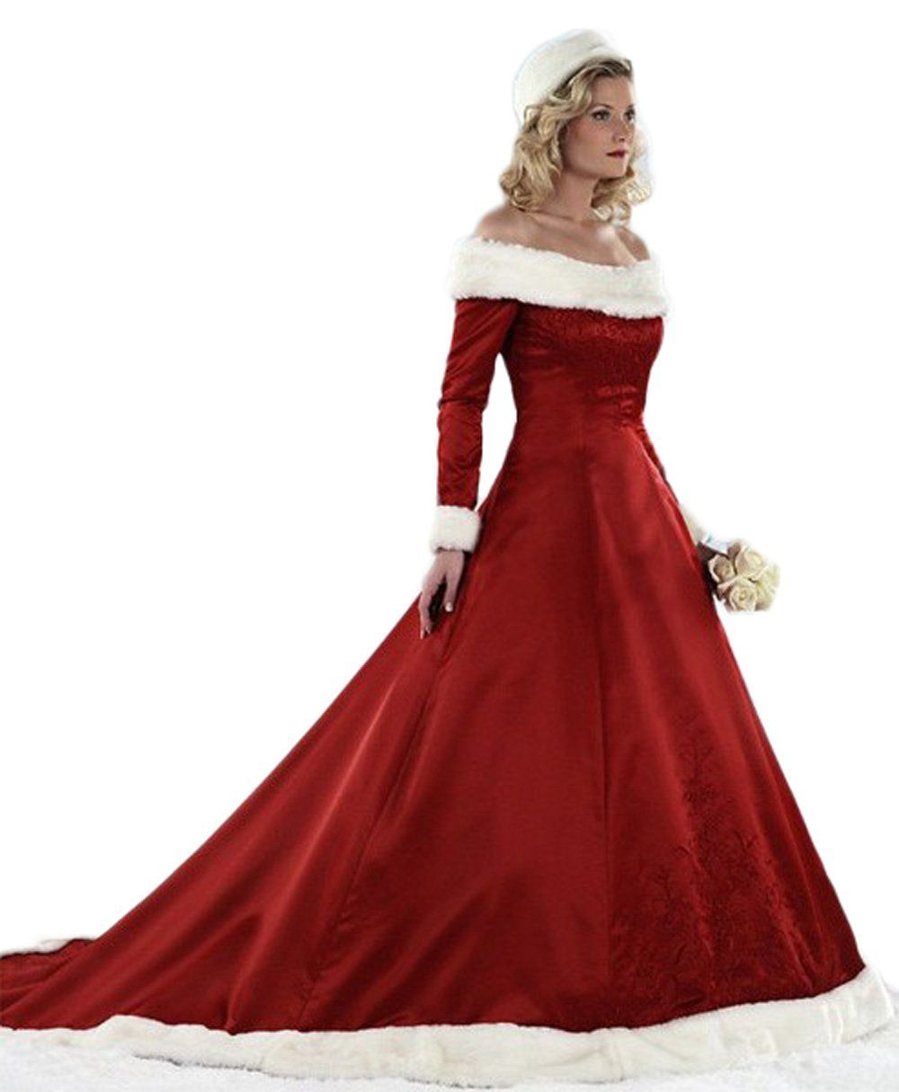 Chupeng womens long sleeves aline bridal dresses red ball