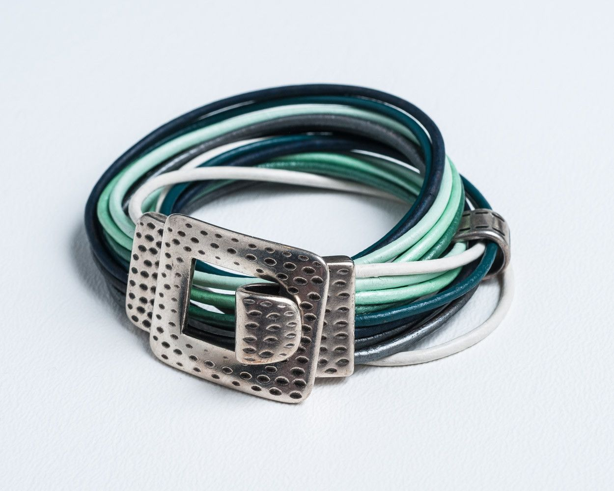 Turquoise and Green Leather Wrap Bracelet