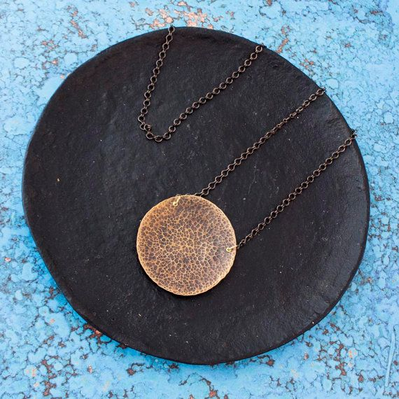 Hammered Brass Necklace, Full Moon Necklace,Oxidized Brass Necklace, Brass Moon, Hammered Moon Necklace, Red Fern Studio