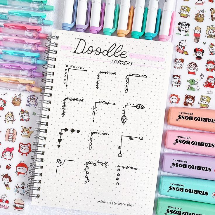 "Nicole Grace on Instagram: ""Doodle corner ideas ... - #Corner #Doodle #Grace #Ideas #Instagram #layout #Nicole #bulletjournaldoodles"