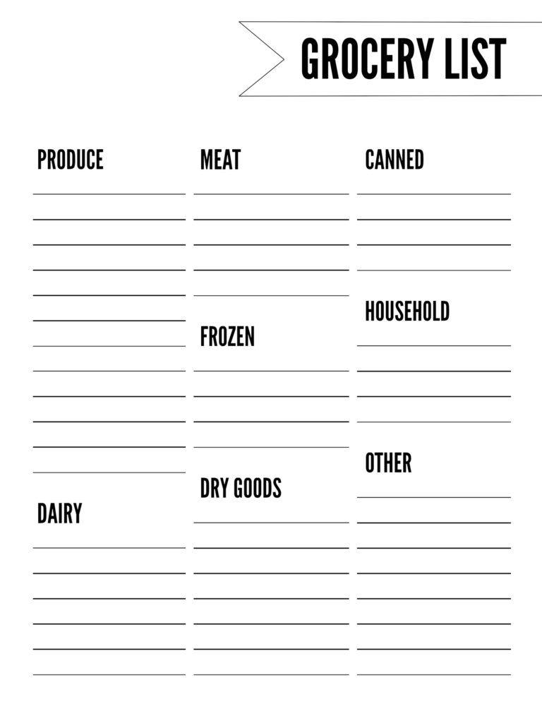 Free Printable Grocery List Template Printables Pinterest