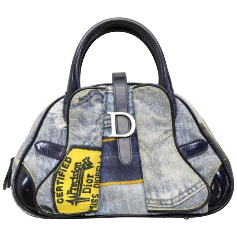 44a5a7364b1f 1stdibs Evening Bag   Minaudière - Dior Denim Patchwork Bowler 227306  Coated Canvas Satchel Canvas