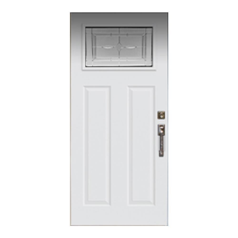 Jeld Wen 36 In X 80 In Left Hand Inswing 1 Lite Craftsman Diamond Park Primed Steel Prehung Front Door With Brickmou Front Door Jeld Wen Tall Cabinet Storage