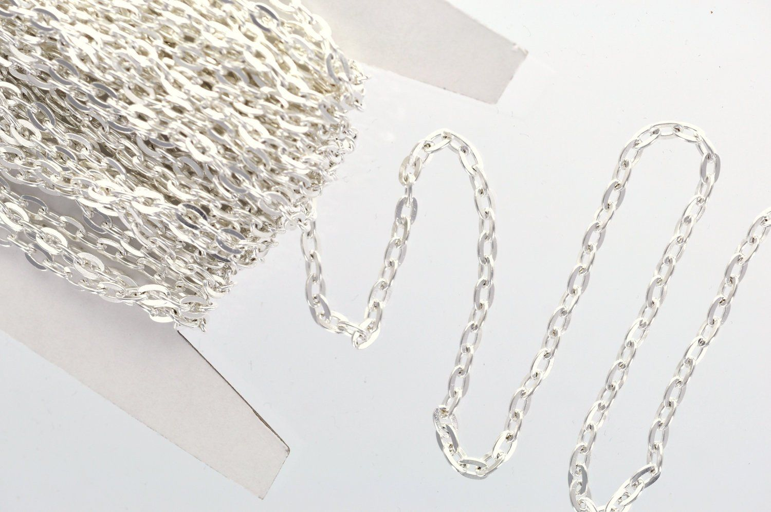 1 yard SILVER PLATED FLAT Link Chain unsoldered links are