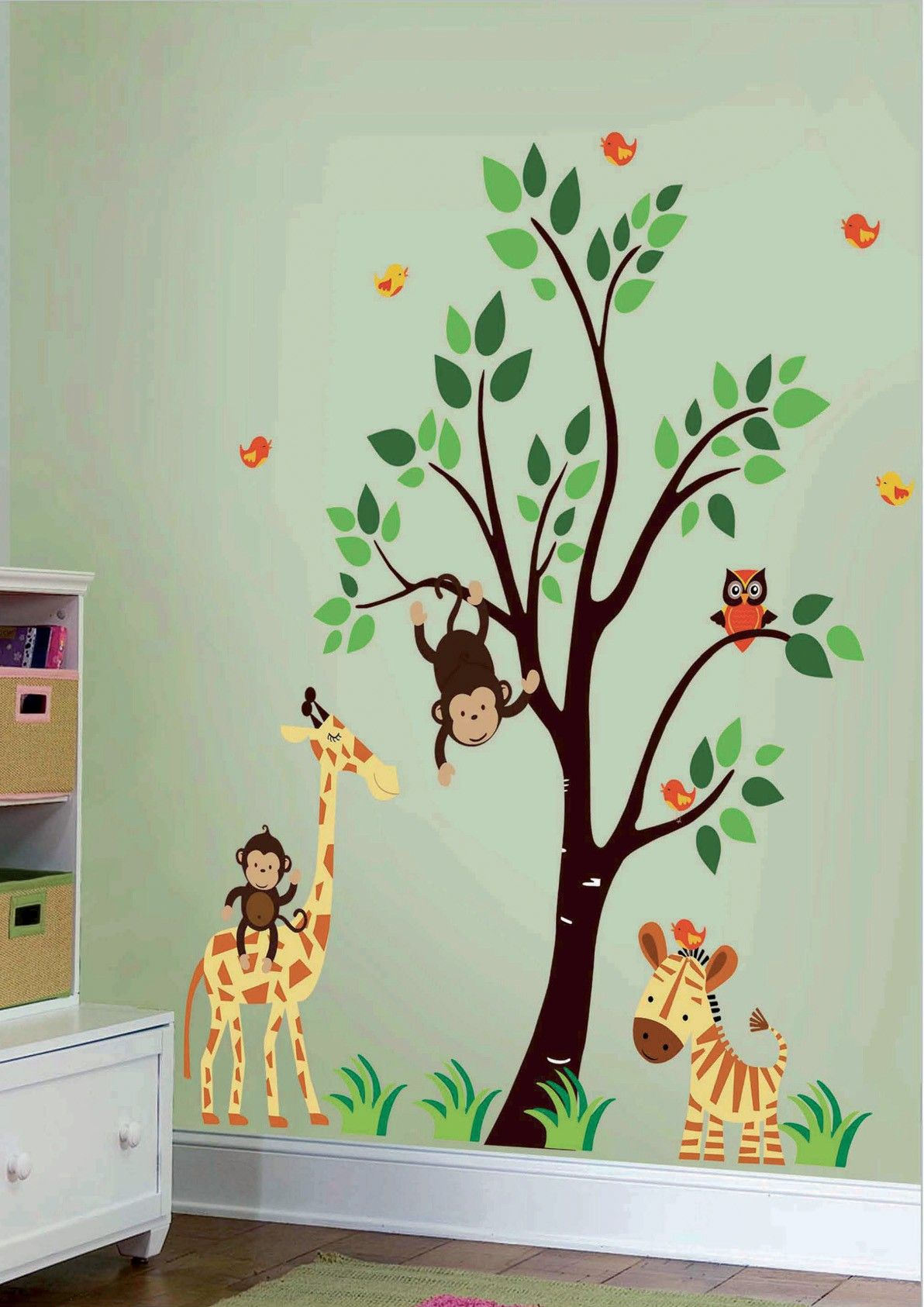artistic vinyl blik mural wall sticker jungle family wall decal for kids children and nursery. Black Bedroom Furniture Sets. Home Design Ideas