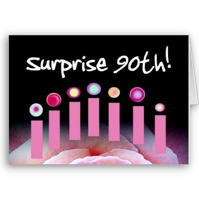 90th Surprise Birthday Party Invite With Candles Cards From Zazzle